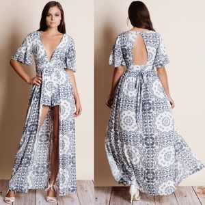 Printed Maxi Romper Dress