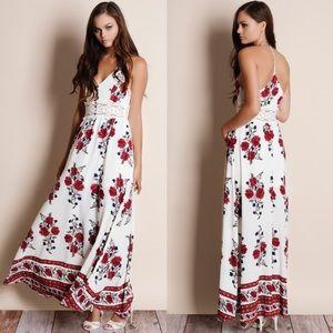 Floral Print Lace Waist Maxi Dress