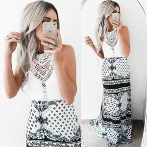 Lunar Frost Crochet Printed Backless Maxi Dress