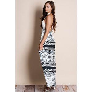 Bare Anthology Dresses - Lunar Frost Crochet Printed Backless Maxi Dress