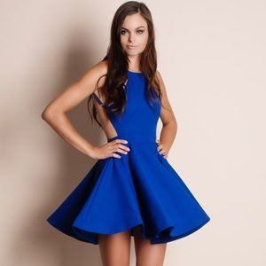 Cobalt Blue Backless Flare Dress