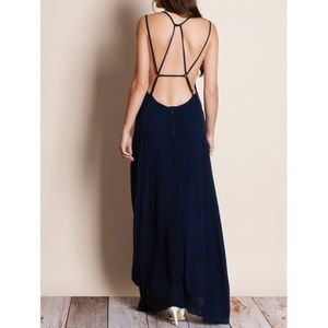 Rendezvous Backless Navy Maxi Dress