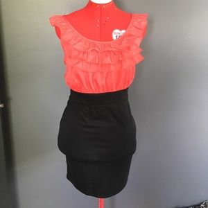 Lipstick Boutique Dresses & Skirts - Orange coral and black ruffled mini dress
