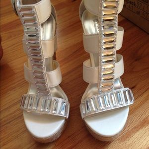 H by Halston white wedges