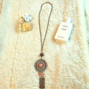 Necklace. Coral. Tassel. Long. Dream catcher vibe.