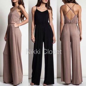 Boutique Pants - Criss criss back wide leg jumpsuit jumper dress