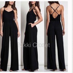 8ff8be65607 Criss criss back wide leg jumpsuit jumper dress. Boutique