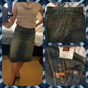 7 for all Mankind Dresses & Skirts - 7 For All Mankind, by Jerome, Acid Wash Jean Skirt