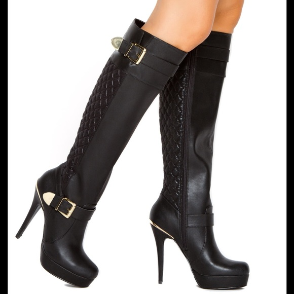 93 yemay shoes black high heel boots by yemay