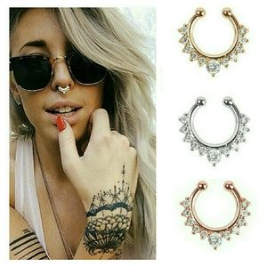 Faux Septum Nose Ring Bling in 3 Colors