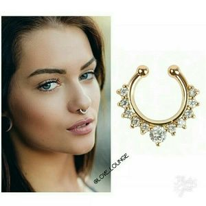 Faux Septum Nose Ring in Rose Gold or Yellow Gold
