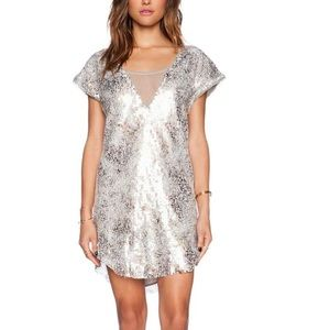 Free People Silver Shattered Glass dress