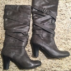 Fergalicious Shoes - Gray Buckle Heeled Boots