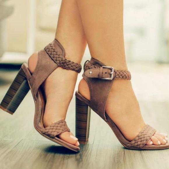 66ee403b25a 🌻🐝Beige Braid Ankle Strap Open Toe Chunky Heels