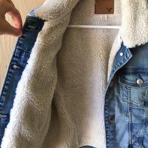 American Eagle Womens Fur Sherpa Lined Boyfriend Classic Denim Jean Jacket Coat