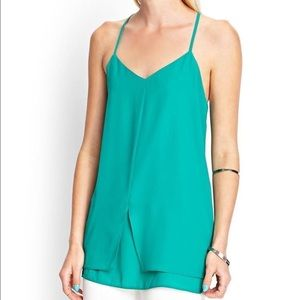 Forever 21 green tunic layered Medium blouse cami