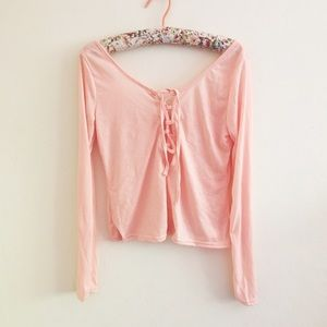 Tops - Pink Bardot Lace Up Top