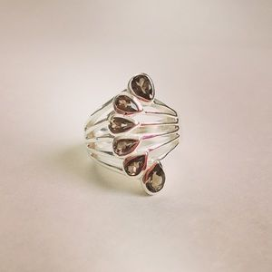 Smoky Quartz Sterling Silver Fan Ring