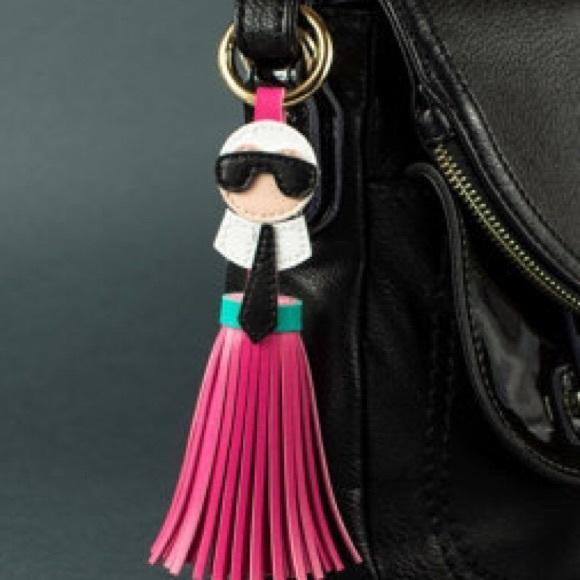 NWT    Karl Lagerfeld Fringe Tassel Bag Key Charm