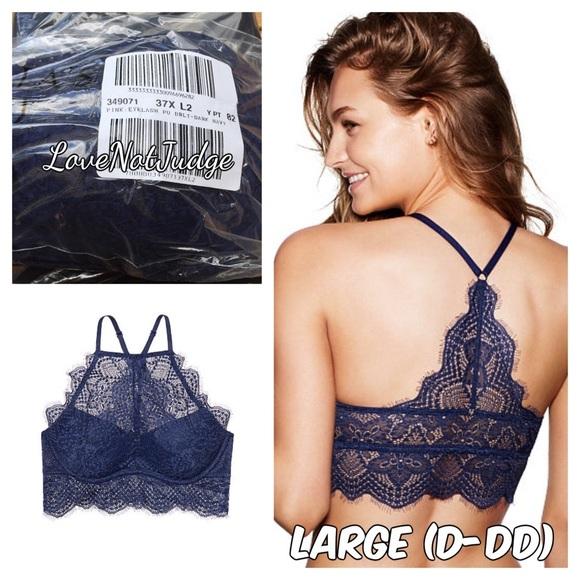 Nwt Victorias Secret PINK Black Eyelash Lace Pushup T Back High Neck Bralette