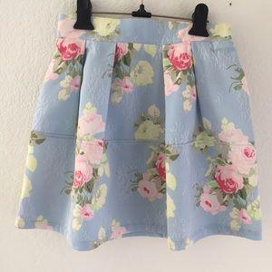 Floral flower lace skater skirt elastic waist