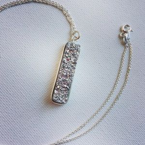 Sterling Silver & Silver Druzy Agate Bar Necklace