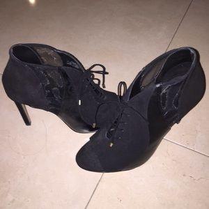 Zara open toe mesh lace up heels