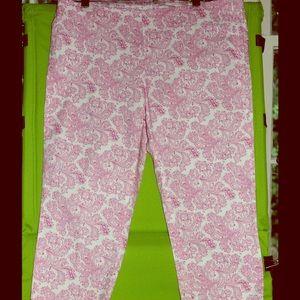Benetton Pants - Slim Pink & White Crop Pants