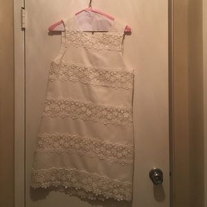 J.crew white dress with flower detailing