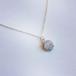 Sparkly Druzy & Sterling Silver Necklace