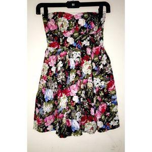 Black floral strapless dress