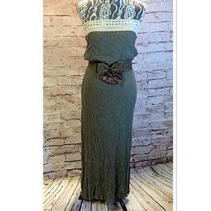 Entro Dresses & Skirts - SZ LG ENTRO STRAPLESS ARMY GREEN MAXI DRESS