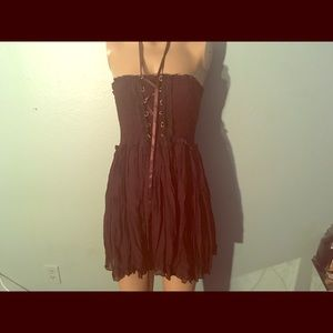 Dresses & Skirts - Boho brown corset lace up hippie fairy dress