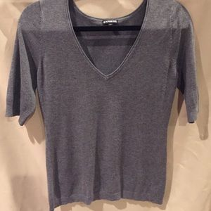 Grey knit short sleeve sweater
