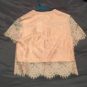 Space 46 Tops - Short sleeve pink lace crop top