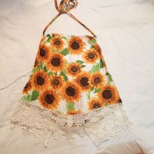 LF Sunflower and Lace Halter Top