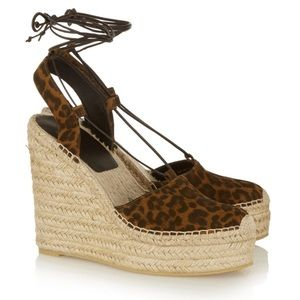 Saint Laurent Shoes - SAINT LAURENT Leopard suede lace up espadrille