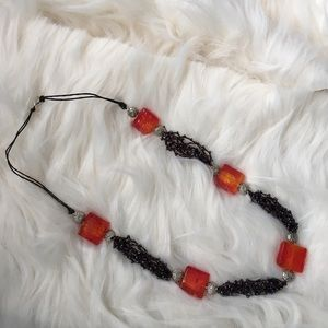 Arawak jewelry Jewelry - 🆑earance Red & silver crocheted necklace