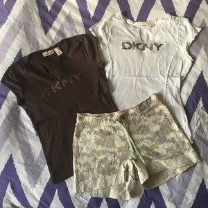 DKNY Bundle: New camouflage shorts with 2 T-shirts