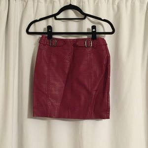 Topshop Dresses & Skirts - Topshop leather red mini skirt rocker