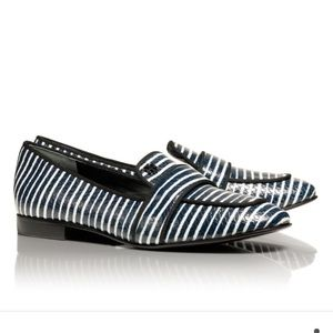 Auth Tory Burch Evette Striped Women's Loafers 8