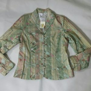 Coldwater creek embroidered jacket sz xs nwt $129