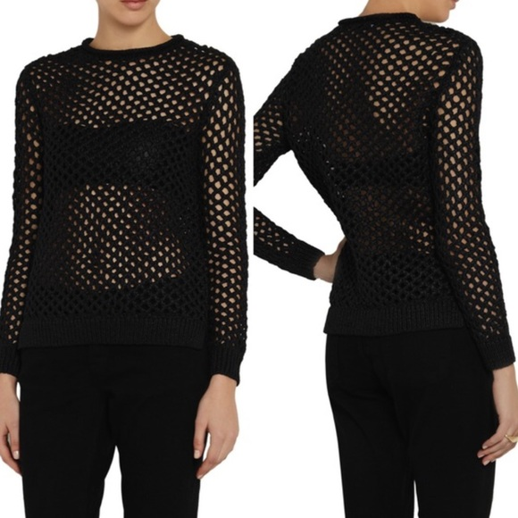 94ef483d5a T by Alexander Wang Black Open Knit Sweater. M 57849f5e2ba50a7825012472