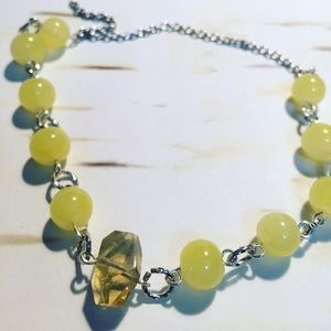 Lemon quartz crystal anklet gypsy chic