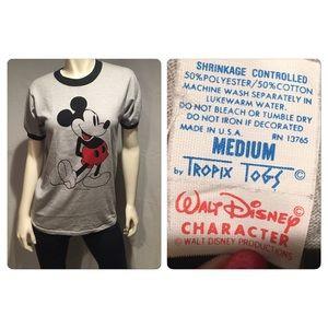 Classic VTG Mickey Mouse 70s blue ringer t-shirt