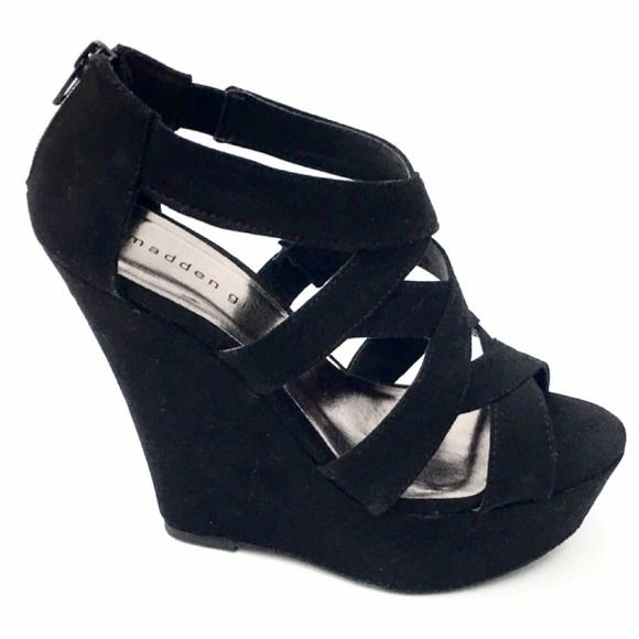 77da6f99eba Madden Girl Ultra Chic Wikke Black Wedge Sandals