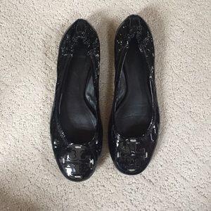 Tory Burch Glossy Black Flats