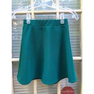 green high waisted skater skirt