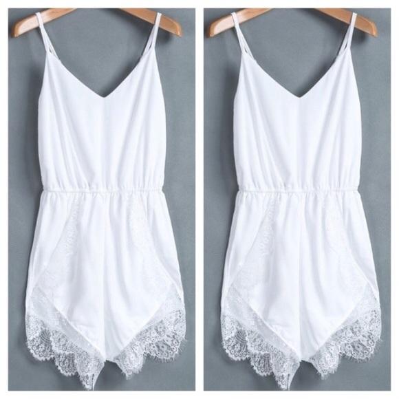 d8b259f5cda3 White lace shorts romper wedding robe white romper