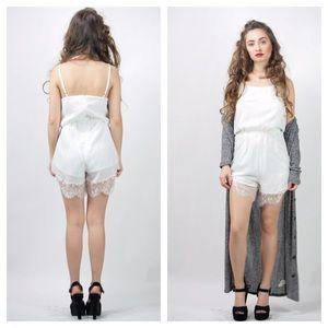 8bb8ac75456e Nasty Gal Pants - White lace shorts romper wedding robe white romper